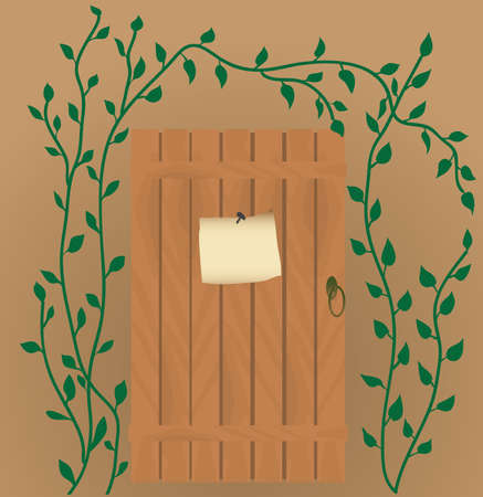 The announcement on the wooden door. Vector illustration Vector