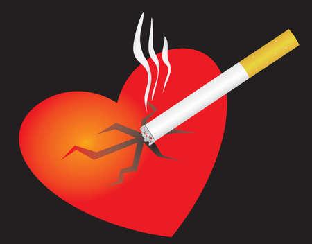 Smoking cigarettes break your heart. Vector illustration Vector