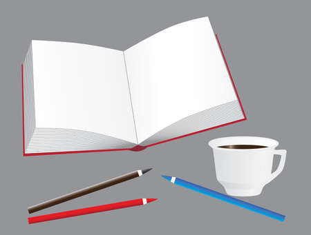 The book, coffee and pencils. Vector illustration Vector