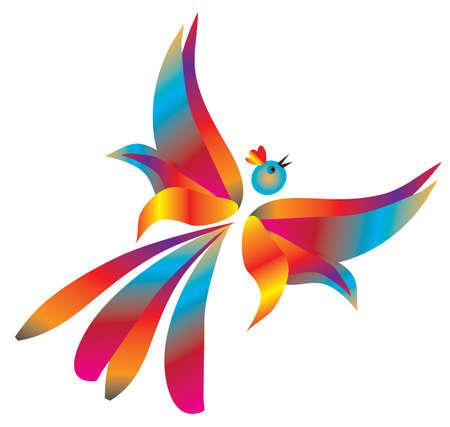 Free flight of fantastic birds. Vector illustration Vector