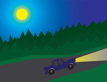 driving range: A night tour of the forest road. Vector illustration