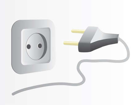 conductor electricity: Plug and socket. Vector illustration