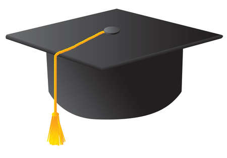 credential: The black student graduation hat. Vector illustration