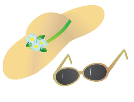 A hat and sunglasses for the beach. Vector illustration Vector