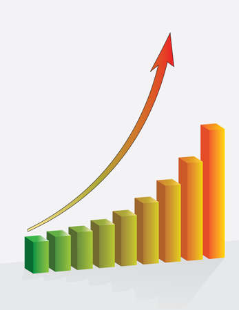 Graph the growth of financial success. Vector illustration Vector