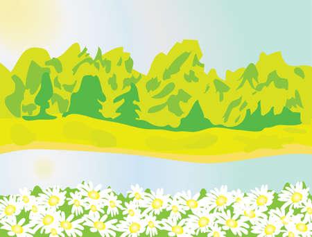Riverbanks in the summer heat. Vector illustration Vector