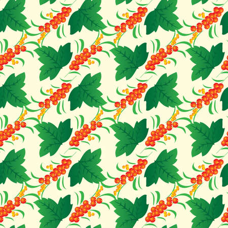 Seamless background from leaves and berries. Vector illustration Vector