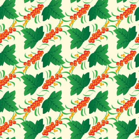 range fruit: Seamless background from leaves and berries. Vector illustration Illustration