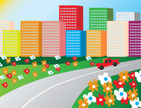 The road in the morning the city. Vector illustration Illustration