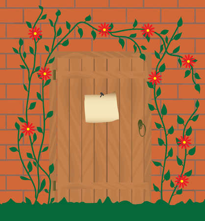 Entrance to the abandoned house. Vector illustration Vector