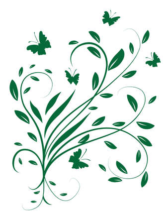 Circling the leaves and butterflies. Vector illustration