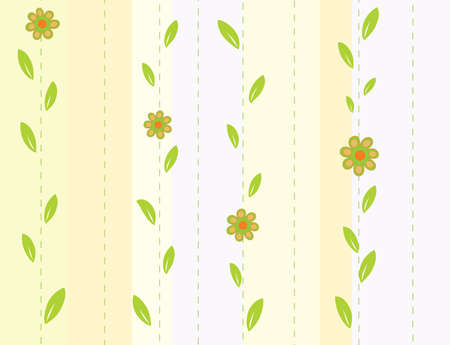 Seamless striped background with flowers. Vector illustration Vector