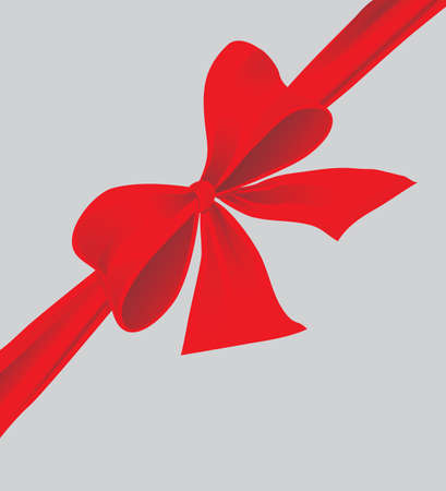 Big bow of red ribbon. Vector illustration Vector