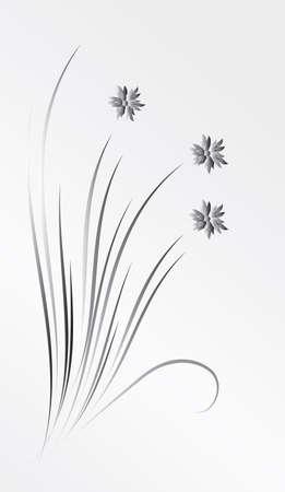 Een boeket van zilveren bloemen. Vectorillustratie