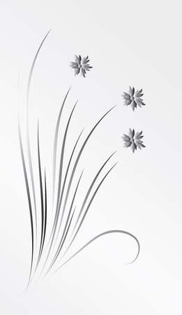 Un ramo de flores de plata. Ilustración vectorial
