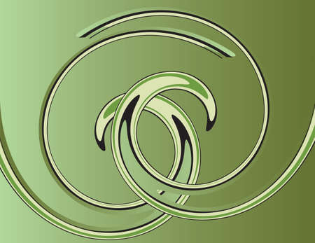 Green abstract background with helix. Vector illustration Vector