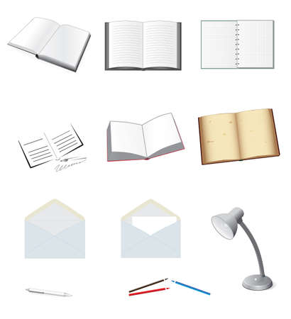 blue pen: A set of stationery for school and office. Vector illustration Illustration