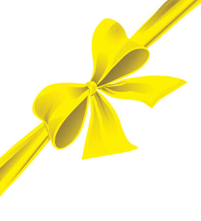 Big bow of yellow ribbon. Vector illustration Vector