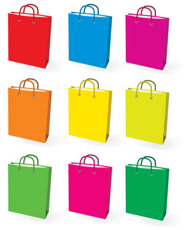 Collection of colored bags for shopping. Vector illustration Vector