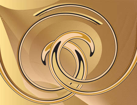 Abstract yellow background with spirals. Vector illustration Vector