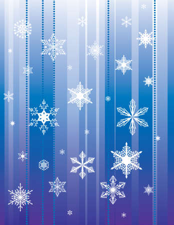 Falling snowflakes on a blue background. Vector illustration Vector