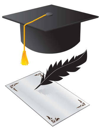 credential: Hat and a paper on graduation. Vector illustration