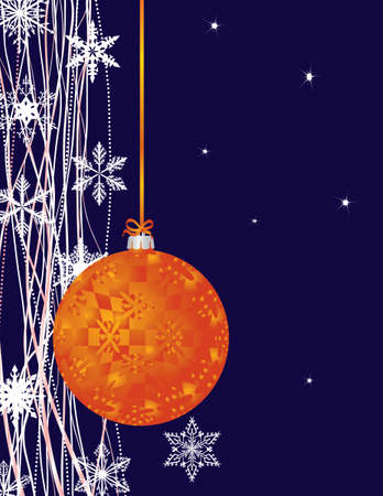 Orange New Years ball and snowflakes. Vector illustration Vector