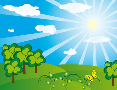 Green landscape on a sunny day. Vector illustration Vector