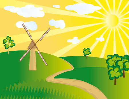 cartoon land: The windmill in the field.  Illustration