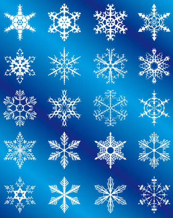 Collection of snowflakes on a blue background. Vector illustration Vector
