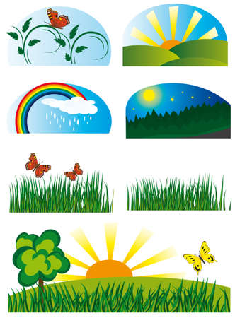 Collection of elements of nature. Vector illustration Stock Vector - 5771170