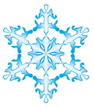 ice slide: One snowflake on a white background. Vector illustration