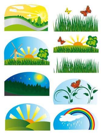 Colección de elementos de la naturaleza. Ilustración vectorial Ilustración de vector