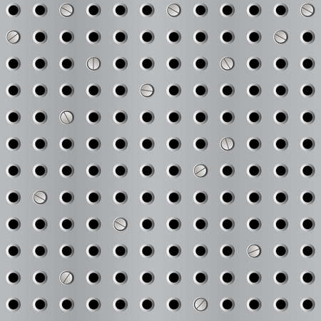 Metal seamless background with perforation. Vector illustration Vector