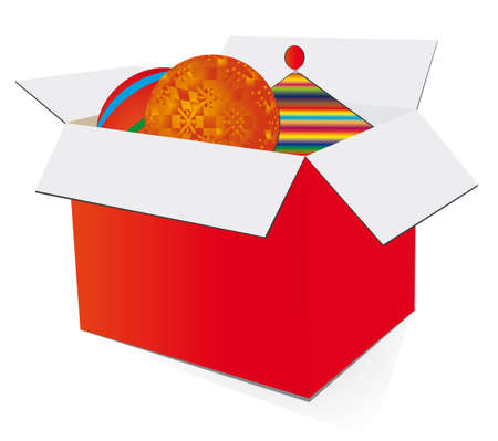red gift box: Red gift box with toys.  Illustration