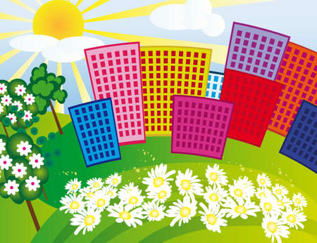 Solar city among the flowers. Vector illustration Vector