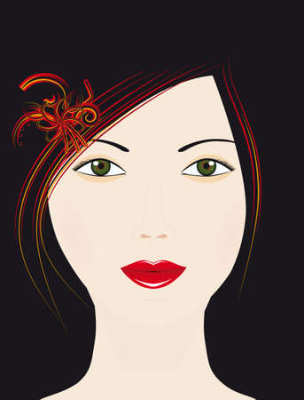 he girls face on a black background. Vector illustration Vector