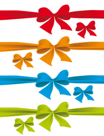 red ribbon bow: A set of colorful bows. Vector illustration