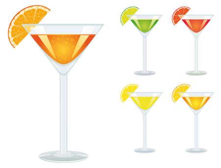 zest: A set of drinks in glasses. Vector illustration Illustration