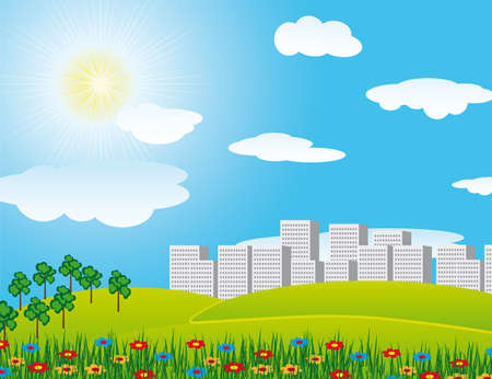 The road through the field in the city. Vector illustration Stock Vector - 6189193
