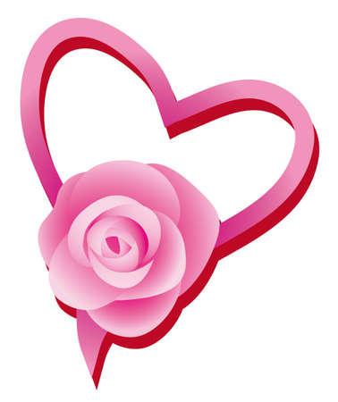 Lovers heart and a rose.  Vector