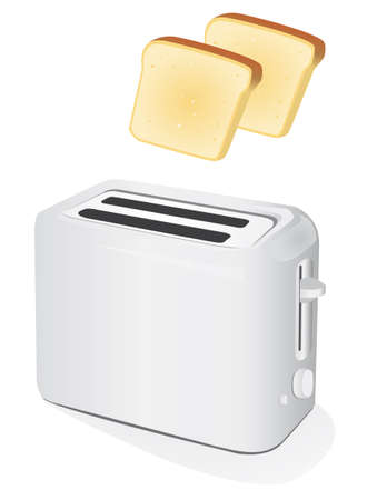 Plastic electric toaster with toast. Stock Vector - 6236072