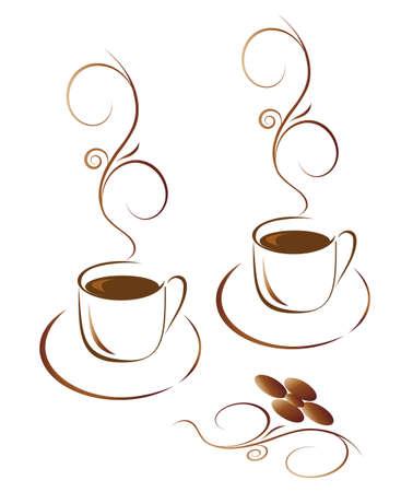 Dos tazas de café caliente. Ilustración vectorial