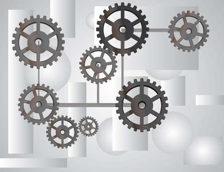 idler: Gray background with the gears.  illustration