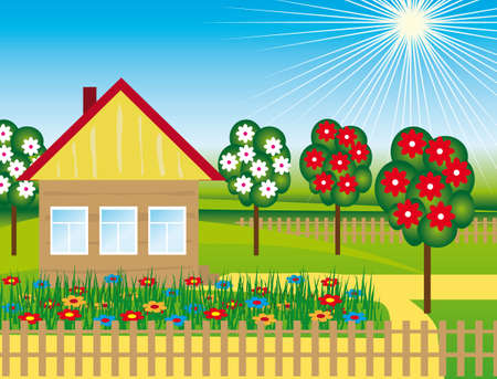 yellow house: Flowers and trees near the house.  illustration