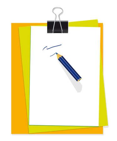 Un conjunto de artículos de papelería para la Oficina. Ilustración
