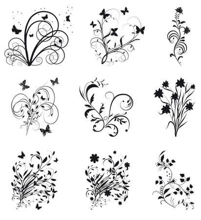 Auflistung der dekorativen Elemente für Design. Vektor-illustration