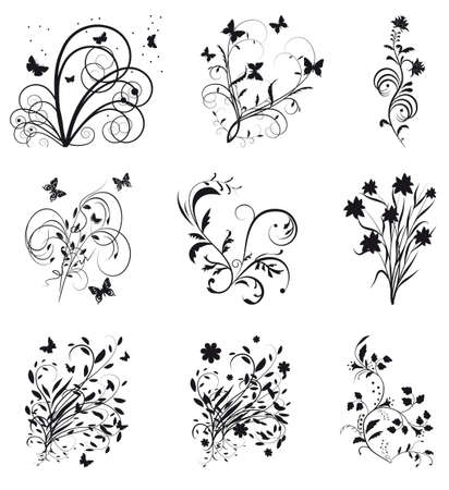 Collection of decorative elements for design. Vector illustration Vector