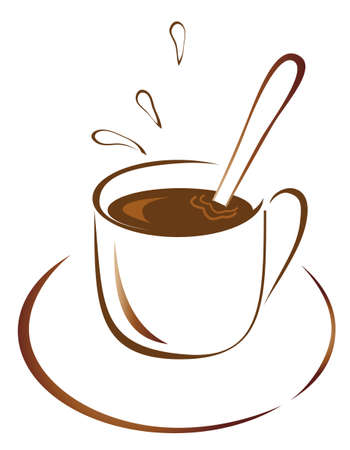A cup of hot coffee. Vector illustration Vector