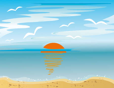 Sunrise and sea gulls over the sea. Vector illustration Stock Vector - 6380721